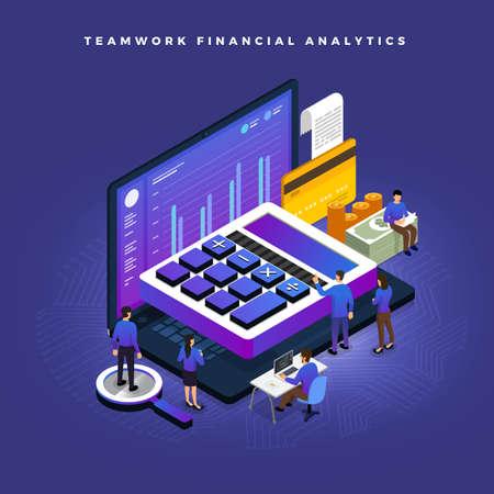 Bedrijfsconceptenteamwerk van mensen die aan de ontwikkeling van isometrische financiële zaken werken via rekenmachine en geld. Vector illustraties.