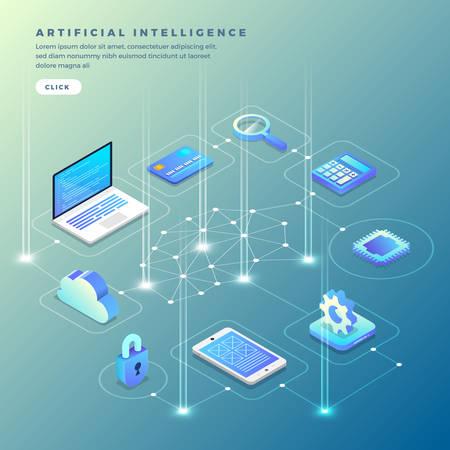 Ilustraciones concepto inteligencia artificial AI. Tecnología que funciona con una computadora cerebral inteligente y un dispositivo de conexión de máquina. Vector isométrico ilustrar.
