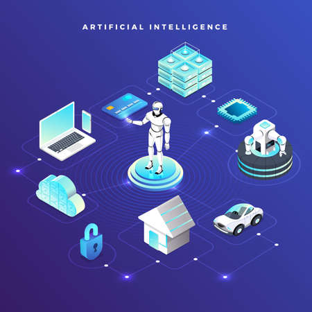 Illustrations concept artificial intelligence AI. Technology working with smart brain computer and machine connecting device. Isometric vector illustrate. Vektorgrafik