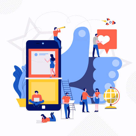 Illustrations flat design concept small people working together create big icon about social engagement. Vector illustrate. Ilustração