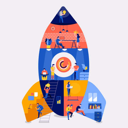 Illustrations flat design concept working space building rocket likestartup company. Create by small business people working inside. Vector illustrate. Illustration