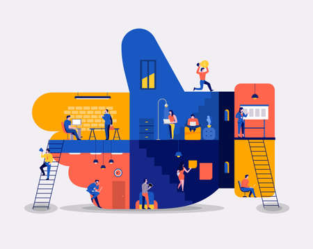Illustrations flat design concept working space building icons like button. Create by small business people working inside. Vector illustrate. Illustration