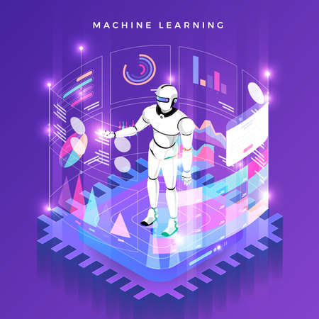 Illustrationskonzept Maschinelles Lernen über künstliche Intelligenz mit Daten und Wissen zur Technologieanalyse. Vektor isometrisch veranschaulichen. Vektorgrafik
