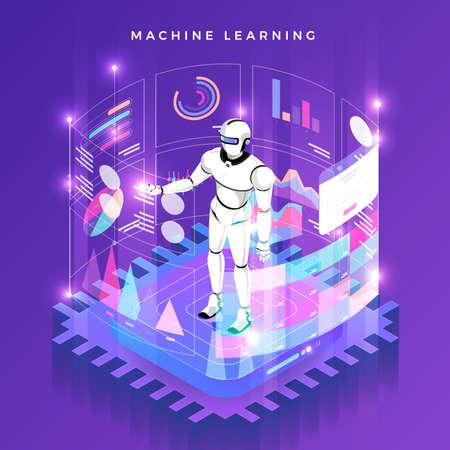 Illustrazioni concept machine learning tramite intelligenza artificiale con dati e conoscenze di analisi tecnologica. Illustrare isometrico di vettore. Vettoriali