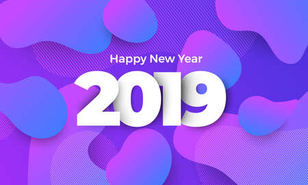 Geometric background btight color. Template design poster banner website.Greeting card with inscription Happy New Year 2019. Vector Illustrations. Ilustrace