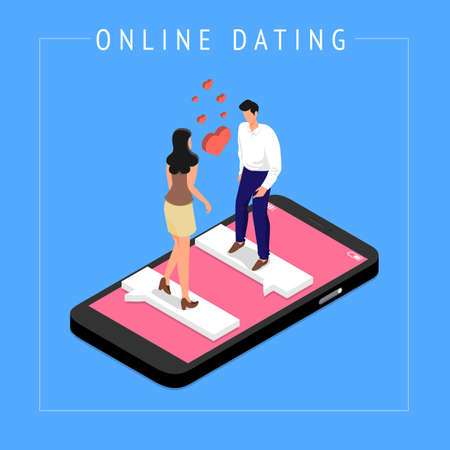 Isometric Modern illustrations concpt dating online application via hand hold mobile chat and social activity relationship between man and woman. Vector illustrate. Illustration