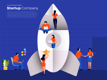 Vector illustration flat design stylr concept peoples working with rocket for create startup company.