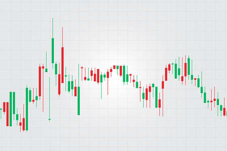 Diagramme de graphique de bâton de bougie de commerce d'investissement de marché boursier, conception et arrière-plan de concept de bourse. Illustrations vectorielles.