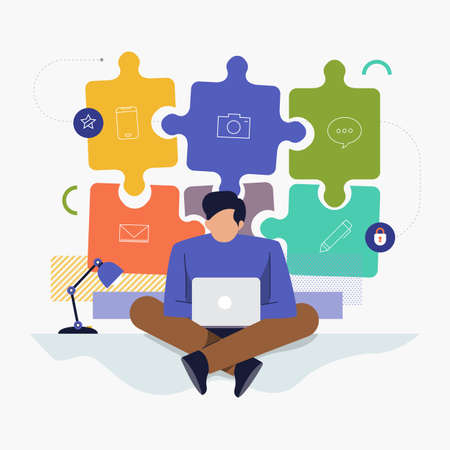 Flat design concept people working with computer laptop and background graphic present hiring jobs. Vector illustrate.