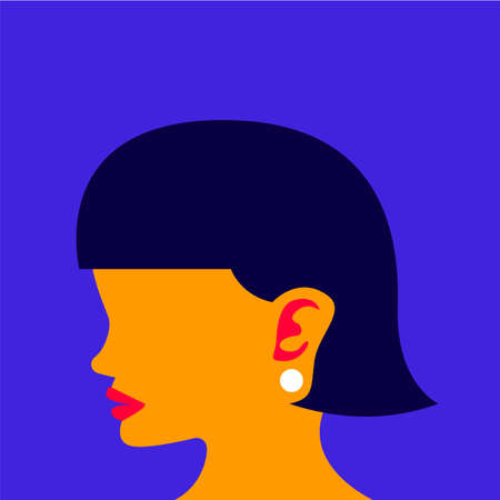 Illustrations of side head woman present fashion look with colorful graphic. Vector illustrate.