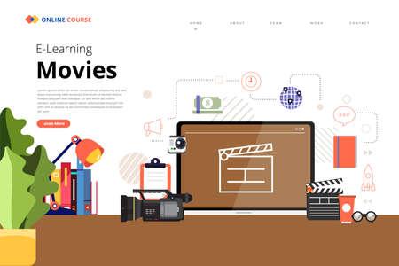 Mockup design landing page website education online course movies and film. Vector illustrations. Flat design element. Vecteurs