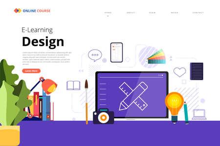 Mockup design landing page website education online course design. Vector illustrations. Flat design element.