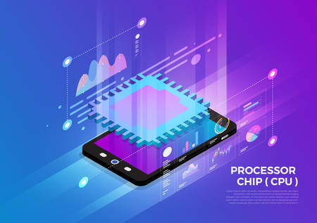 Isometric illustrations design concept mobile technology solution on top with CPU Processor chip. Gradient background and digital graph chart thin line. Vector illustrate.  イラスト・ベクター素材