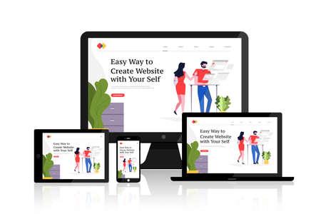 Flat design concept responsive web design development mockup layout devices on multiscreen. Vector illustrations. Illustration