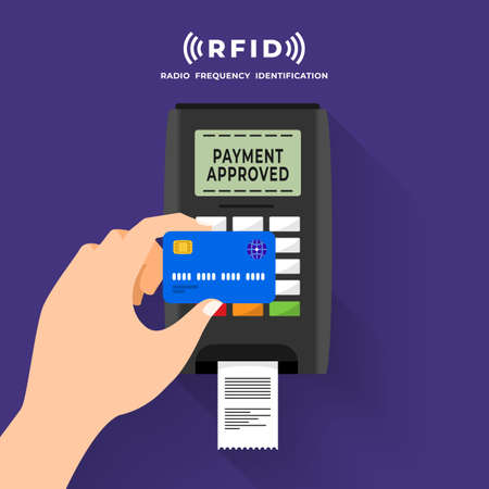 Radio frequency identification illustrations concept. RFID Technology present via working with hands and device connecting. Vector illustrations. Illustration