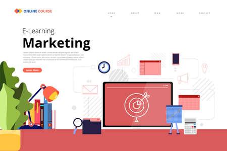 Mockup design landing page website education online course marketing. Vector illustrations. Flat design element.