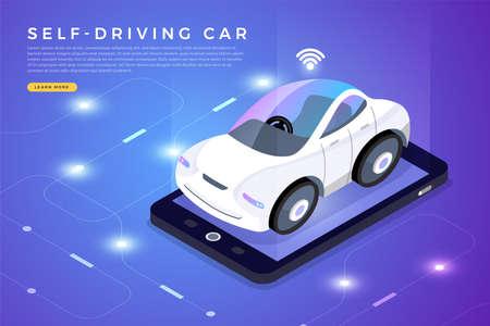 Autonomous self-driving Automobile sensors Smart Car Driverless vehicle technology. Vector illustrate.