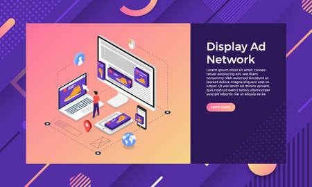 Mockup landing page website isometric design concept display ad banner networks. Vector illustrations.