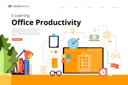 Mockup design landing page website education online course office productivity. Vector illustrations. Flat design element.