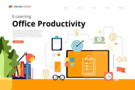 Mockup design landing page website education online course office productivity. Vector illustrations. Flat design element.