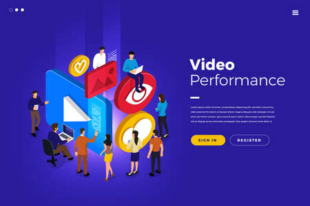 Isometric illustrations design concept businessman teamwork building icon present video performance view love like. Vector illustrate.