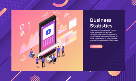 Mockup landing page website isometric design concept SEO optimization teamwork. Vector illustrations. Stock Vector - 125935504