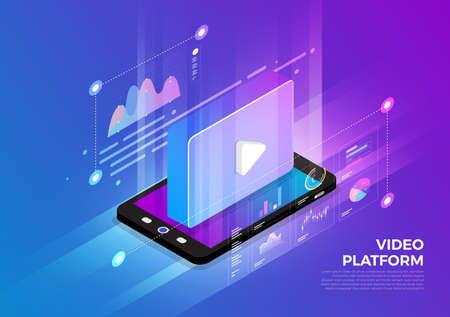 Illustrazioni isometriche concetto di design soluzione di tecnologia mobile in cima con piattaforma video. Sfondo sfumato e linea sottile del grafico grafico digitale. Il vettore illustra.