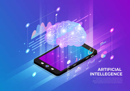 Isometric illustrations design concept mobile technology solution on top with artificial intelligence. Gradient background and digital graph chart thin line. Vector illustrate. Stock fotó - 125935511