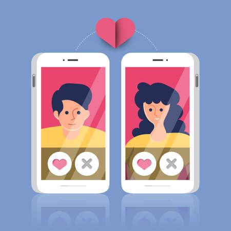 Ilustraciones modernas concpt aplicación de citas en línea a través de chat móvil y relación de actividad social entre hombre y mujer Vector ilustrar.