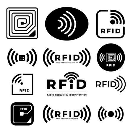 Vector set icono símbolo concepto RFID. identificación de frecuencia de radio. ilustraciones