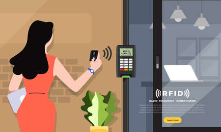 Radio frequency identification illustrations concept. RFID Technology present via business woman access card for open the door to office space. Vector illustrations. Reklamní fotografie - 116147473