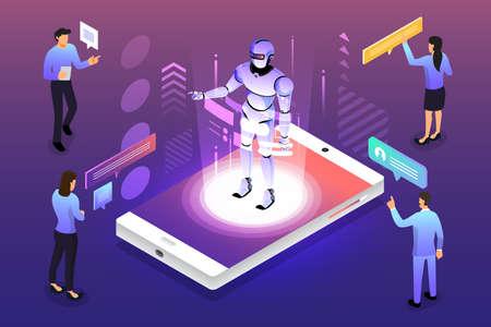 Solution de technologie mobile de concept de conception d'illustrations isométriques sur le dessus avec l'intelligence artificielle. Fond dégradé et graphique numérique fine ligne. Illustration vectorielle. Vecteurs