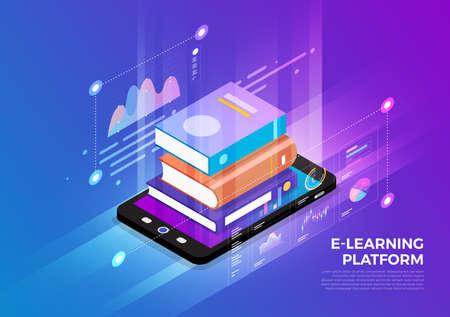 Illustrazioni isometriche concetto di design soluzione di tecnologia mobile in cima con l'e-learning. Sfondo sfumato e linea sottile del grafico grafico digitale. Il vettore illustra.