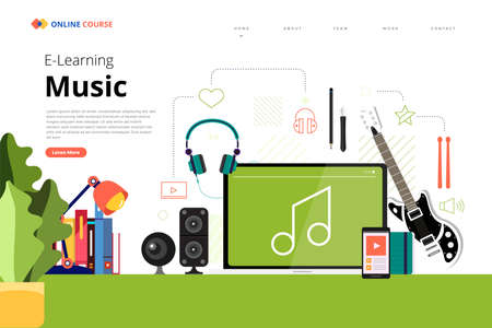 Mockup design landing page website education online course music. Vector illustrations. Flat design element.