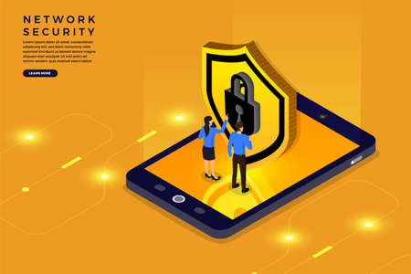 Isometric illustrations design concept mobile technology solution cyber security and device. Gradient background . Vector illustrate. 矢量图像