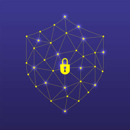 Illustrations design concept technology solution cyber security and device. Gradient background with thin line Shield. Vector illustrate.