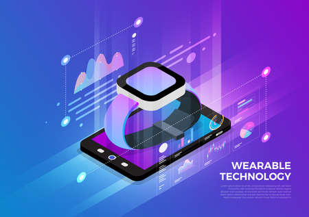 Isometric illustrations design concept mobile technology solution on top with wearable device. Gradient background and digital graph chart thin line. Vector illustrate.