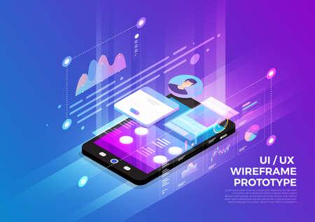 Isometric illustrations design concept mobile technology solution on top with UXUI wireframe prototype. Gradient background and digital graph chart thin line. Vector illustrate.  イラスト・ベクター素材