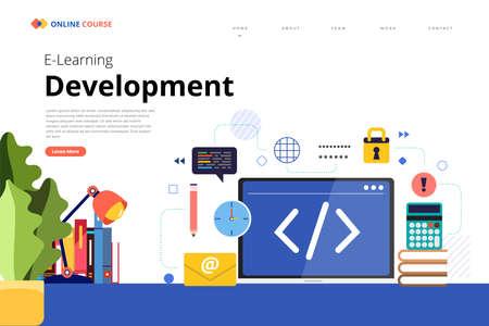 Mockup design landing page website education online course development programming. Vector illustrations. Flat design element. Ilustração Vetorial