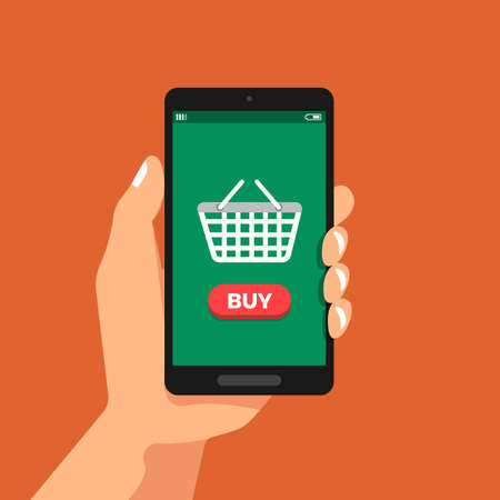 Illustrations flat design concept hand hold smartphone shopping online via icon basket. Vector illustrate. Illustration
