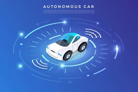 Auto-conduite autonome Capteurs automobiles Smart Car Technologie de véhicule sans conducteur. Illustration vectorielle.