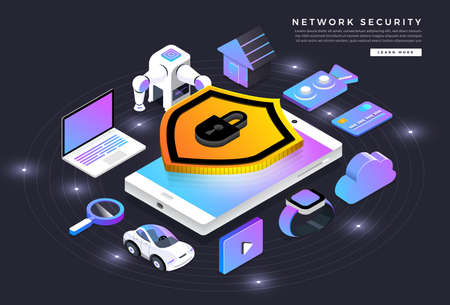 Isometric illustrations design concept mobile technology solution cyber security and device. Gradient background . Vector illustrate.  イラスト・ベクター素材