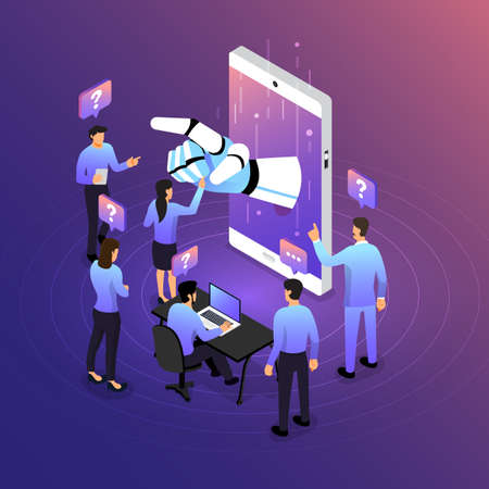 Isometric illustrations design concept mobile technology solution on top with artificial intelligence. Gradient background and digital graph chart thin line. Vector illustrate. Stock fotó - 125935552