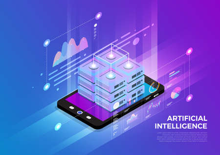 Isometric illustrations design concept mobile technology solution on top with big data server. Gradient background and digital graph chart thin line. Vector illustrate.