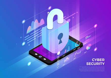 Isometric illustrations design concept mobile technology solution on top with cyber security. Gradient background and digital graph chart thin line. Vector illustrate.