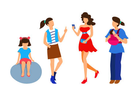 Character of a woman in different ages. A child, a teenager, an adult.Generation of people and stages of growing up. Vector illustration in cartoon style