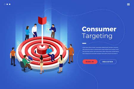 Isometric illustrations design concept teamwork building market targeting together. Vector illustrate.