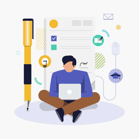 Flat design concept people working with computer laptop and background graphic present resume form (CV). Vector illustrate. Illustration