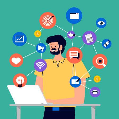 Ensemble de peuples de dessins animés utilisant un appareil Internet comme un smartphone et un ordinateur portable avec une action de style de vie numérique. Illustrations vectorielles.