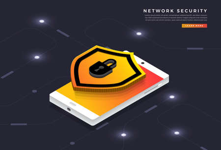 Isometric illustrations design concept mobile technology solution cyber security and device. Gradient background . Vector illustrate. Illustration